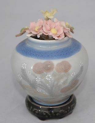 Lladro Vase - Oriental style with Applied Flowers 11.5cm