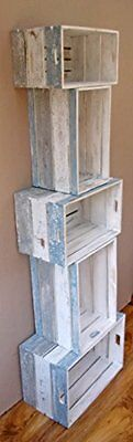 Set of 5 Rustic Stacking Storage Crates Shabby Chic Style - Blue Grey White