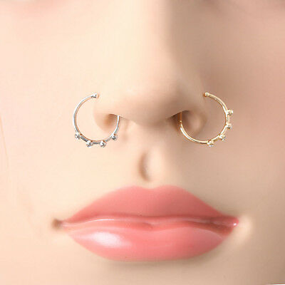 New Hot Nose Ring Bone Stud Jewelry Body Piercing Crystal Rhinestone