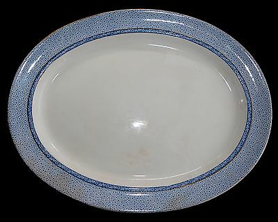 Antique Large Oval Meat Platter BOOTHS Silicon China - Blue Chintz Band - 42cm