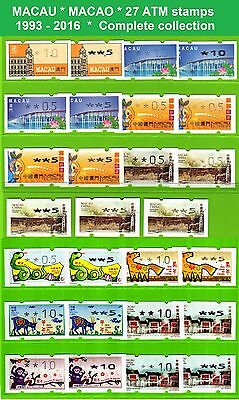 China Macau * 1993-2016 * 27 ATM stamps * Complete collection incl. Zodiac *