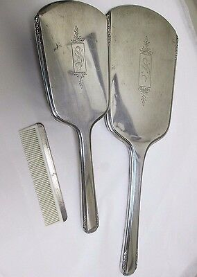 INTERNATIONAL SILVER STERLING DRESSER SET Mirror Comb & Brush Initial S engraved
