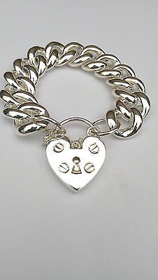 Sterling Silver Curblink Chain  Bracelet With Padlock With Safety Chain