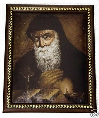 """New Saint Charbel Makhlouf Unique Plaque Padded Wall Picture Holy Land 11.4"""""""
