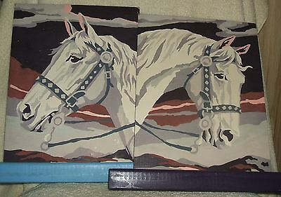 2 Vintage Paint By Numbers White Horse Heads in Wood Stand Holders
