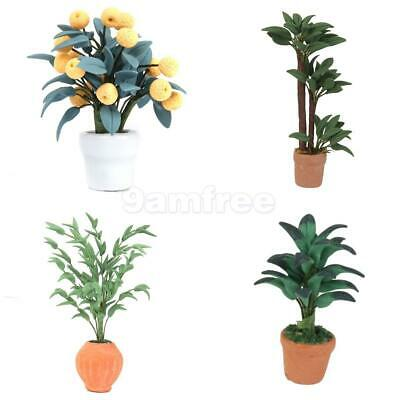 4pcs 1:12 Scale Miniature Green Plant in Pot For Dollhouse Home Garden Decor