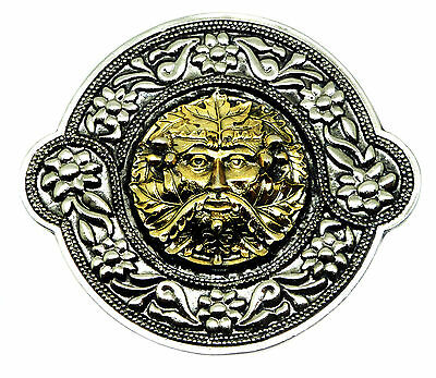 Green Man Belt Buckle With Decorative Border 24ct Gold Authentic Dragon Designs