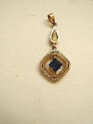 Antique 10K White & Yellow Gold Drop Pendant With Sapphire