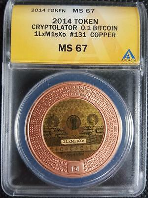 2014 ANACS MS67 Cryptolator Copper BITCOIN BTC 0.1 Physical Coin Token UNFUNDED