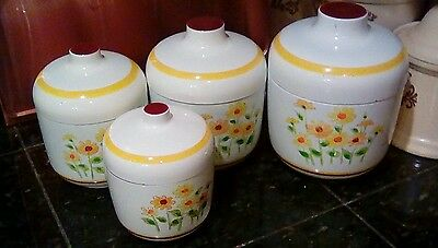 Kitchen Canister 8 Piece Set Cookie Jar Sears Roebuck 1978 Yellow Daisy Vintage