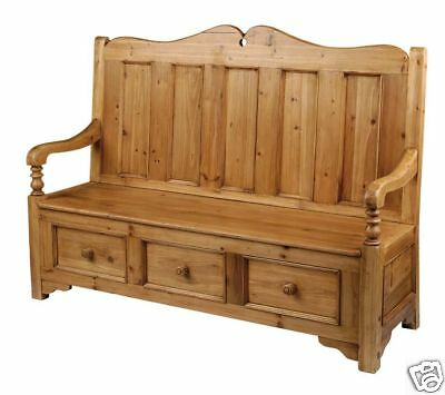 Large 3 Seat 3 Drawers Old Pine Monks Bench Pew Settle