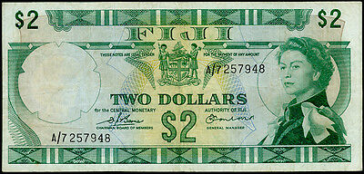 FIJI 2 DOLLARS 1974 ,VF P#: 72b SIGN.BARNES- EARLAND SOUTH PACIFIC CURRENCY