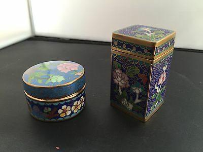 A Pair Of Good Quality Small Cloisonné Boxes. Open To Offers.
