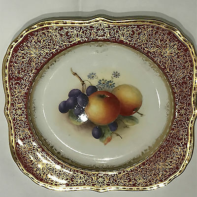 Royal Worcester Fruit Hand Painted Cabinet Porcelain Plate Signed William Bee