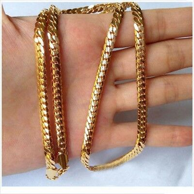 "Men Jewelry Necklace 24"" 18k Yellow Gold Filled 4MM Snake Curb Chain"