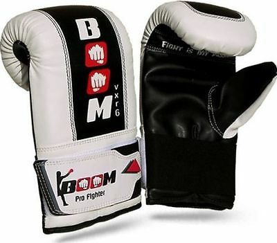 BOOM Boxing Gloves Fight Punch Bag Mitt MMA Muay Thai Grappling Pads Rex Leather