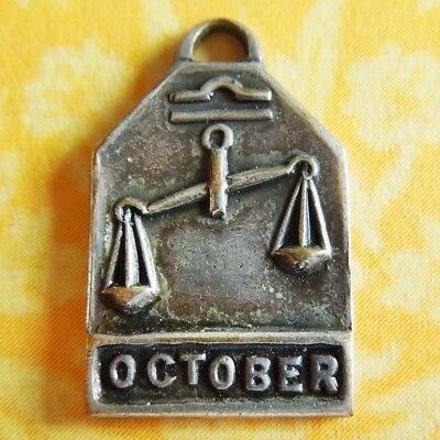 Vintage 1940's OCTOBER LIBRA SCALES ZODIAC Art Deco Silver Plated Charm