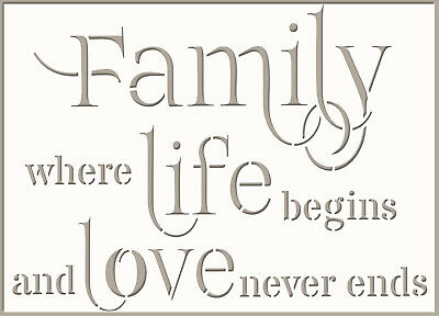 Family Love Life Stencil Vinyl decal Vintage Template Card Paint Crafts Wall QU1