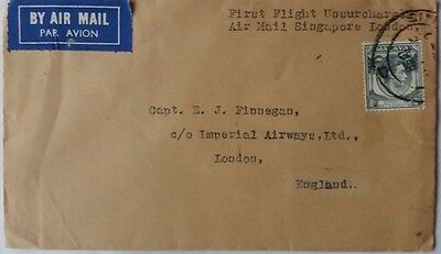Singapore 1938 First Flight Unsurcharged Airmail To Imperial Airways England