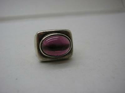Vintage Chunky Sterling Silver Modernist Amethyst Ring size M