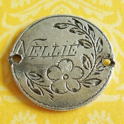 Victorian 1874 FLOWERS NELLIE LOVE TOKEN Seated Liberty Dime Silver Charm