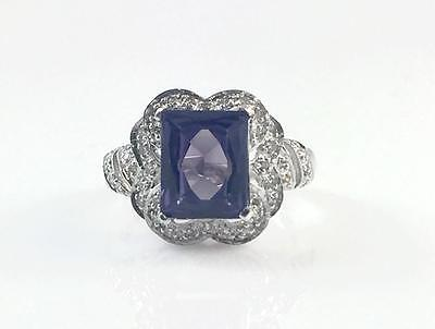 Art Deco 14k White Gold 4.20 Ct Alexandrite Solitaire Color Stone Ring Size 8