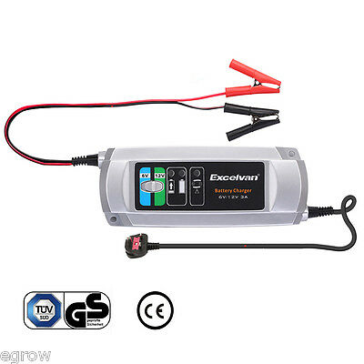 6V/12v 3A Electronic Smart Car Battery Fast Trickle Charger AGM LEAD-ACID GEL
