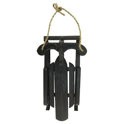 Black Wood/Metal Runners Rope Snow Sled Christmas/Holiday Rustic Home Wall Decor