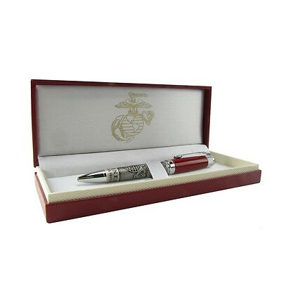 US United States Marine Corps Heavy Metal Red Ball Point Pen/Box USMC Gift Set