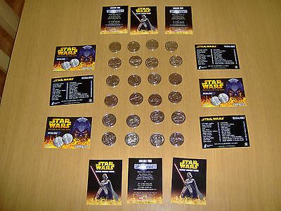 24 Medallionzs -  Coins Silver Coloured  Star Wars R.o.t.s  Full Set