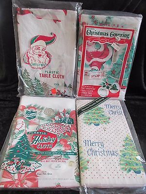 4 Vintage Disposable Plastic Paper Christmas Tablecloths   Made In Usa