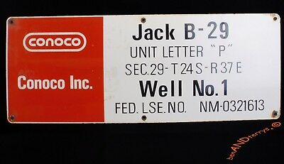 Conoco Oil Gas Well Lease Sign Oil Field Porcelain Sign