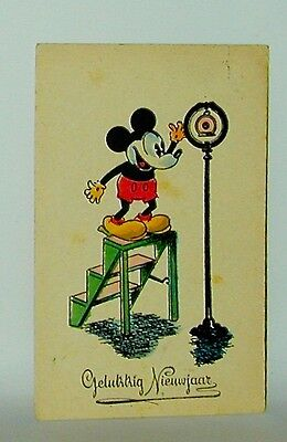 Mickey Mouse Postcard: Belgian Happy New Year Card Mickey & Microphone 1930s