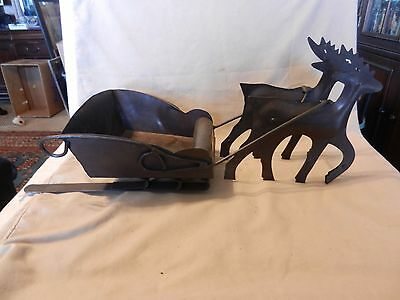 Metal Sleigh with Two Reindeer Christmas Card Holder or to Hold Flowers