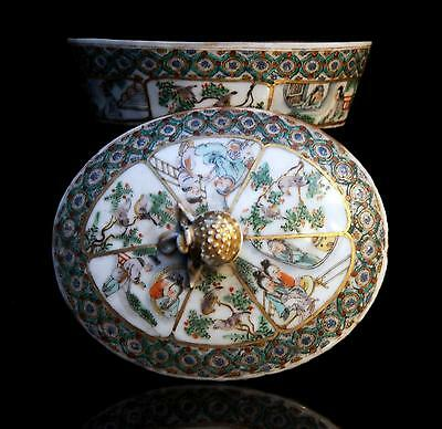 "fine antique Chinese porcelain "" FAMILLE VERTE "" CANTON BOX + COVER 19th Century"