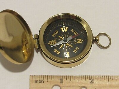 Brass Pocket Compass w/ Lid-BLACK FACE Magnetic-Nautical Camping Hiking w/ Pouch