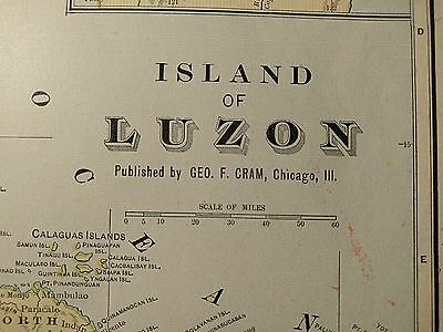 "LUZON PHILIPPINES Map 1901 Antique Original Crams 11.5""x14.5"" Old MAPZ182"