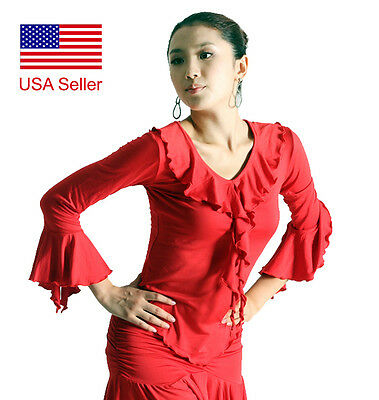 SCT1053RD (S-XXL) New Women Ballroom Latin Rhythm Salsa Swing Dance Blouse Top