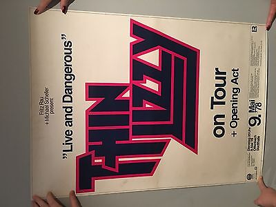 """THIN LIZZY- """"LIVE and DANGEROUS"""" CONCERT VENUE POSTER 1978 GERMANY"""