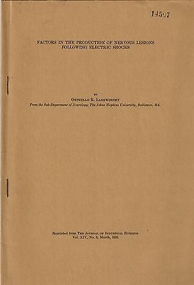 1932 Journal Offprint Electrocution, Electric Shock, Electrical Injuries Trauma