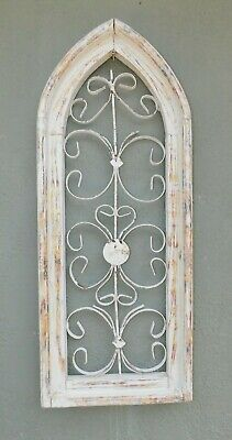 Wooden Antique Style Church WINDOW Wrought Iron Primitive Wood Gothic 28 INCH