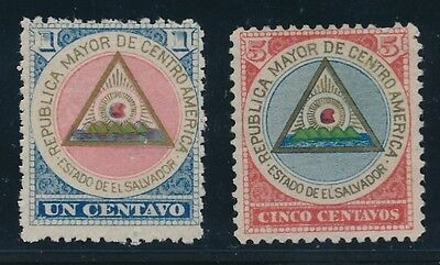 "1897 El Salvador ""COAT OF ARMS"" #175 & #176; MH AS SHOWN"