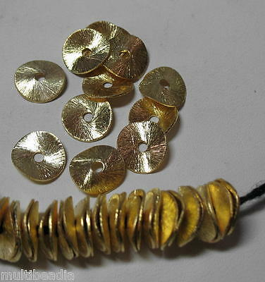 GP Gold Plated 6mm Round Flat Wavy Chip Cornflake Spacer 50 Beads