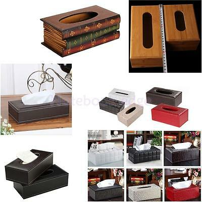 European Home Car Room Decor Leather Wooden Tissue Box Cover Papers Holder Case