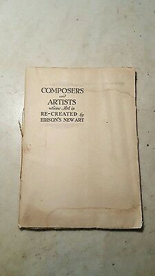 Antique Circa 1916 Edison Phonograph Record Composers and Artists Catalog