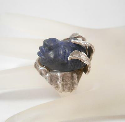TAXCO Mexico 3 Signed RJA 925 Sterling Silver Lapis Myan God Face Ring Size 10