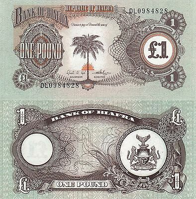 Biafra 1 Pound (ND/1968) - Palm Tree/Rising Sun/p5a UNC