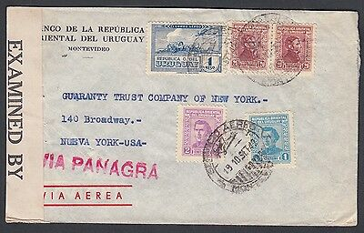 Uruguay 1942 Wwii Censored Panagra Airmail Cover Montevideo To New York Usa