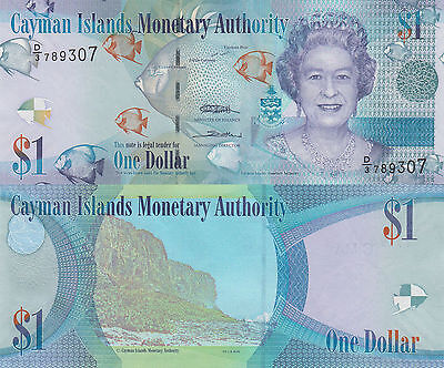 Cayman Islands 1 Dollar (2010/2015) - QEII/Fish/Shells/p38c/Prefix D3 UNC