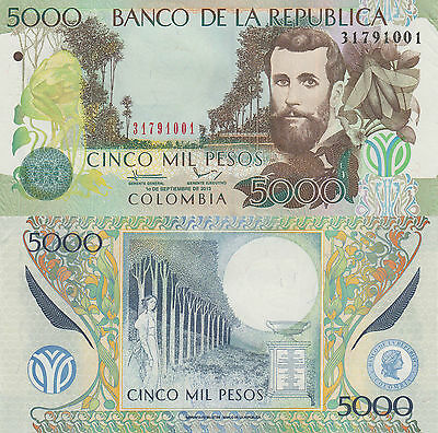 Colombia 5000 Pesos (01.9.2013) - Winged Insect/Moon/p452-New UNC